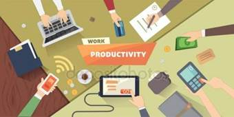 Productive office workplace. Productivity business strategy flat illustration. Stock Illustration