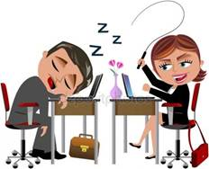 Lazy Worker Sleeping and Angry Colleague isolated Stock Vector