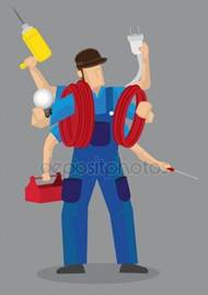 Busy Multi-tasking Handyman Worker Cartoon Character Vector Illu Royalty Free Stock Illustrations